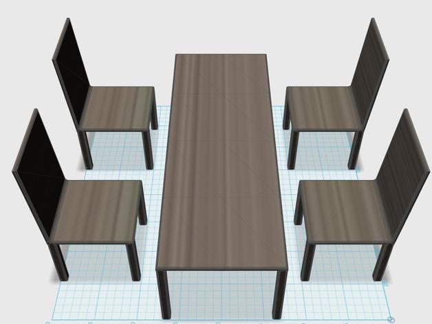 descargar set de muebles sillas y mesa en 3d para